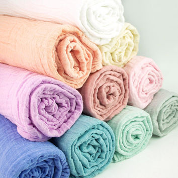 Muslin Swaddle Blankets in solid colors - made from 100% cotton double gauze - 2 sizes, mini lovey or classic swaddle size