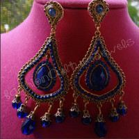FashionCultureJewelry — Bollywood inspired purple Chandelier earrings