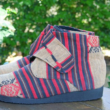Vegan Womens Ankle Boot In Tribal Naga Retro Bootie- Cyndie