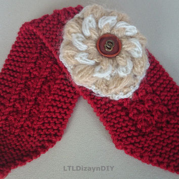 turban knitted headband embellished with knitted flower ,red knit headband,knitted ear warmer,turban knit hat hair wrap,turban headwrap,gift