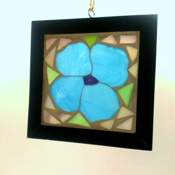 Stained Glass Blue Flower GOG Mosaic Sun Catcher Free Shipping