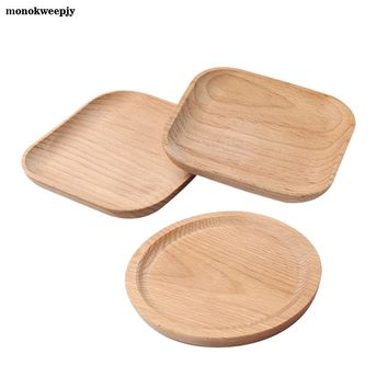 Round /Square Shape Wood Plate Dishes for Home Hotel School Cake Dessert Serving Tray Wood Sushi Plate Dinnerware Tableware
