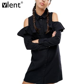 Vlent Sexy Off Shoulder Long Ruffles Sleeve Shirt Dress Women Plus Size Autumn Short Black Dresses 90s Girl Preppy Casual Dress