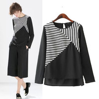 Summer Mosaic Stripes Pullover Shirt Tops Blouse [6048469313]