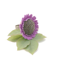 Marvelous crocheted ring, beaded embroidery ring, lilac flower ring, crocheted flower ring, unique flower ring, boho style ring
