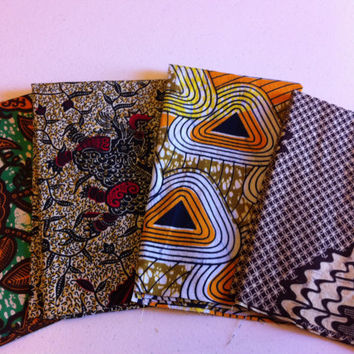 FAT QUARTER BUNDLE--African Wax Print--Earth Tones 4-pack bundle
