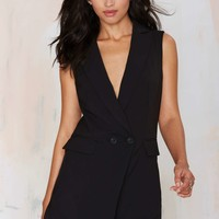 Suit Up Tuxedo Romper - Black