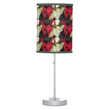 Variegate Poinsettia Holiday Table Lamp