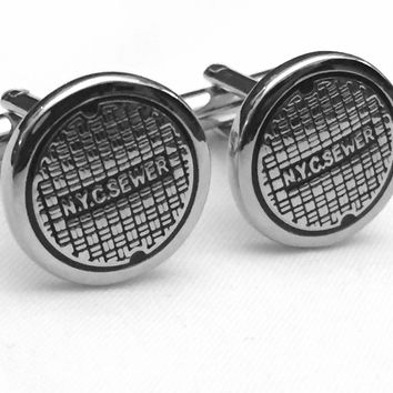 HOLIDAY SPECIAL, NYC Manhole Cufflinks, New York City Cufflinks, Men's Cuff Links, Wedding Cuff Links, Father's Day Cuff Links