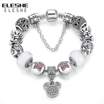 ELESHE Strand Bracelet 925 Unique Silver Jewelry Crystal Charm Bracelets Bangles for Women Murano Glass Bead Women Bracelet