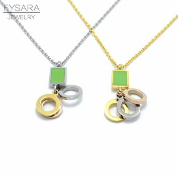 FYSARA Fashion Brand Love Resin Green Square Necklace For Women Gold-Color Stainless Steel Three Circle for One Pendant Necklace