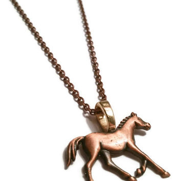 Horse necklace cowgirl necklace bronze horse charm pony necklace walk trot show pony equestrian necklace