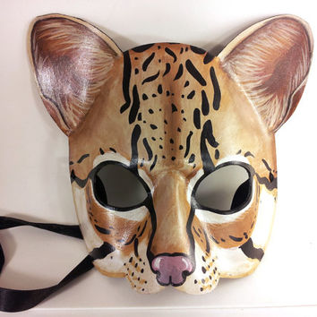 Ocelot Mask handmade from Leather, Perfect for a masquerade, costume or decoration!
