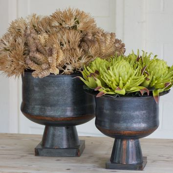 Antique Black Copper Planters (Set of 2)