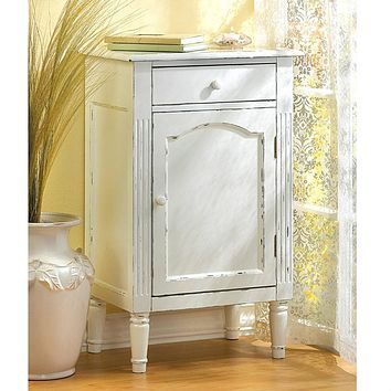 Distressed Antique-Style White Cabinet
