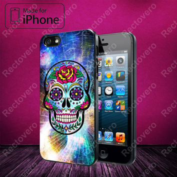 Sugar Skull Colorful Crack Out case for iPhone 5, 5S, 5C, 4, 4S and Samsung Galaxy S3, S4