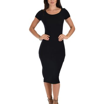 Lyss Loo Along The Lines Bodycon Black Midi Dress