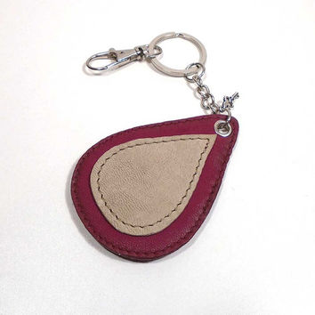 Personalized leather keychain, drop keychain, dark raspberry keychain, leather key fob, Printed Keychain, Key holder, Key Chain, keyholder