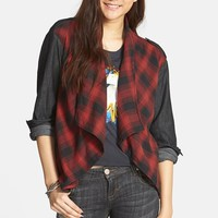 Junior Women's Volcom 'Western Moon' Shawl Collar Flannel & Chambray Shirt