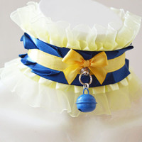 Kittenplay collar - Noble company - kitten play ddlg princess daddy girl kink choker with bell - royal blue and pastel yellow necklace