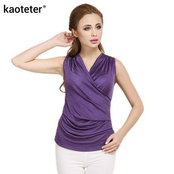 100% Pure Silk Women's Crossed V-neck Sleeveless T-shirts Women Pleated Bottom Tee Shirt Tops Female Fashion Slim Woman - Beauty Ticks