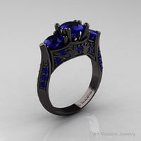 Nature Inspired 14K Black Gold Three Stone Blue Sapphire Solitaire Wedding Ring Y230-14KBGBS