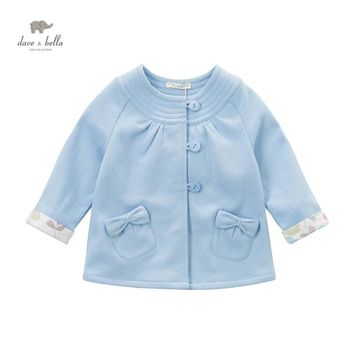 DB4450 davebella spring fall baby girl new blue coat sweet bow girl fancy coats kids beautiful outerwear