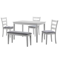 Monarch Dining Set 5Pcs Set / White Bench And 3 Side Chairs - Walmart.com