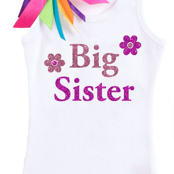Big Sister to Be, Rainbow Ribbons, Big Sis, Siblings Shirt, Big Sister Shirt, Big Sister T-Shirt, Pink Flowers, Personalized Big Sis Outfit