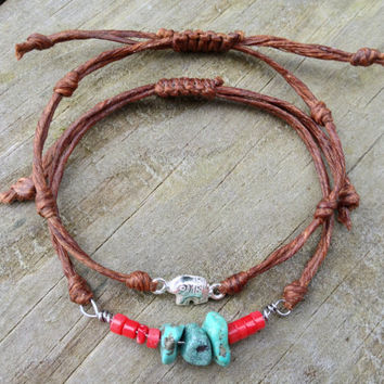 American Turquoise and Sterling Silver Friendship Bracelet with solid silver elephant charm, Irish Linen Bracelet, charm bracelet,