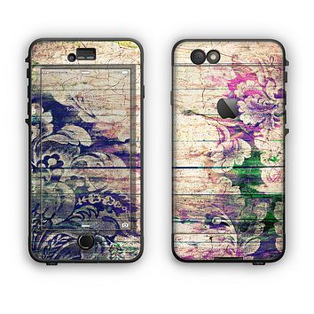 The Abstract Color Floral Painted Wood Planks Apple iPhone 6 Plus LifeProof Nuud Case Skin Set