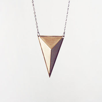 pyramid triangle necklace - geometric jewelry