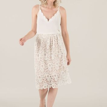 Julianna White Lace Midi Skirt