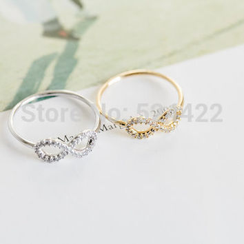 Gold Silver Infinity Friendship Ring with crystal Best Friend Rings