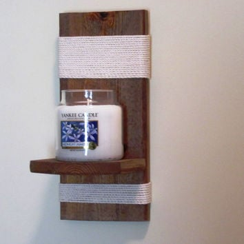 Rustic Wall Sconce, Candle Holder, Candle Sconce, Wall sconce with nautical twine