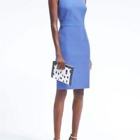 Bi-Stretch Racer-Neck Sheath Dress | Banana Republic