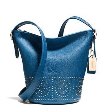 Coach Mini Studs Mini Duffle Pebble Leather Shoulder Bag