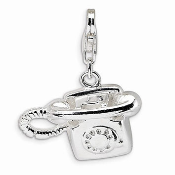 925 Sterling Silver 3D Vintage Rotary Telephone Dangling Charm