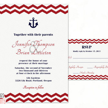 Navy Wedding Invitation - Nautical Wedding Invitation and RSVP Card - Navy and Red Wedding Invitation (Printable) Chevron Wedding Invitation