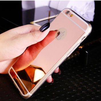 Luxury Rose Gold Mirrored Case For iPhone 5 5s 6 6s 7 Plus