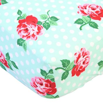 Retro Florals Lucy Aqua - Crib Sheet