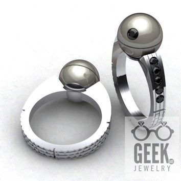 Death Star Pearl Engagement Ring-  Ladies NEW!!!