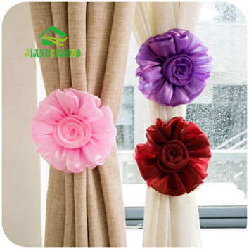 5 Colors 1 PC Rose Flower Curtain Tieback Buckle Clamp Hook Fastener For Home Decor