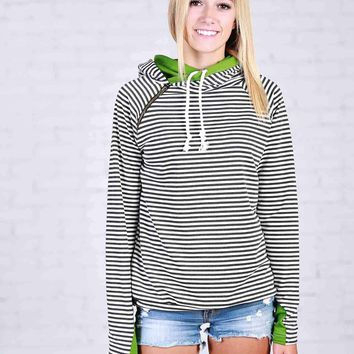 Black and White Stripes with Green Double Hoodie