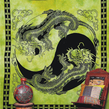 "Dragon Tapestry, Indian Wall Hanging, ""Yin Yang Dragon"" Tapestry, Dorm Bedding, Throw Dragon Bedspread , Tablecloth Coverlet Bed-Cover,"