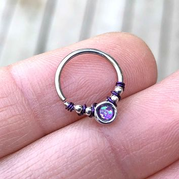 Purple Opal Daith Hoop Ring Rook Hoop Cartilage Helix Tragus