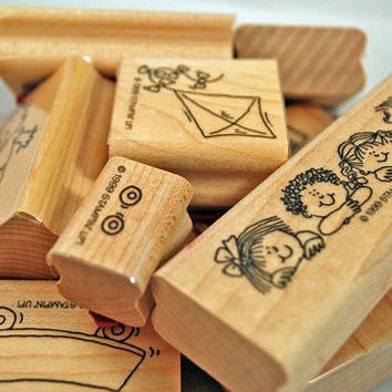 """Stampin Up Stamp Set """"Kids at Play"""" 1999 Retired VERY Hard to Find Never Used Rubber Stamps Scrapbooking MINT in Box Never Used"""