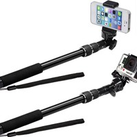 Selfie Stick | Use as GoPro Pole and Monopod | Camera Mount | Go Pro Accessories Kit | Use with iPhone 6 and 7 and Hero 3 4 5 Black Silver | New Grip Handle (No Bluetooth)