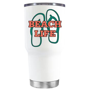The Beach Life Sandals on White 30 oz Tumbler Cup