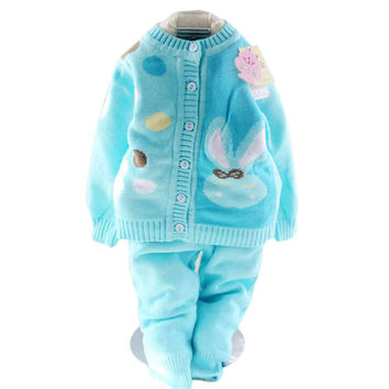 Retail 2017 spring autumn winter children clothing set new style baby boy girl set 2 pieces knit Dot sweater sets 12-24M